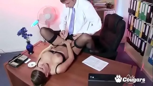 Mature MILF Magda Slides Her Gstring To The Side And Gets Fucked At The Office