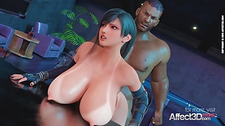 Big tits bartender blacked in a 3d animation