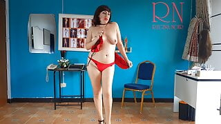 Depraved slut shows tits and cunt to her boss. Striptease 2