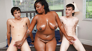 Ebony Step Mom Having Fun With Stepson and His Friend