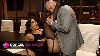 Gorgeous babe Emily Willis does extra hours with her boss