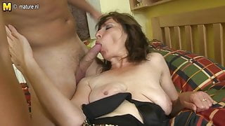 Hairy mom fucking her step son's best friend