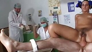 Hairy pussy pissing for medical exam