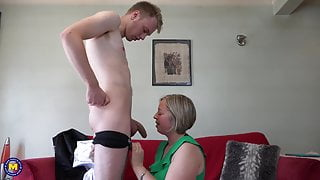 Home sex with lovely mature mom and step son