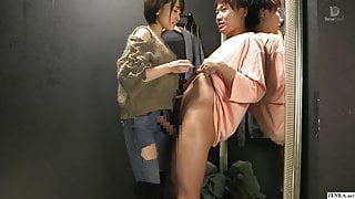 Japanese clothing shop changing room sex with employee