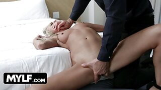 Muscular Boss Gets Sexy Blonde In Stockings As A Welcum Gift