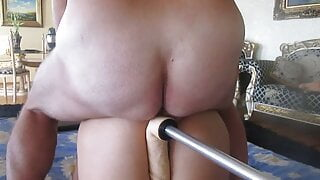 My friend gets ass and pussy fucked by a machine
