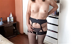 My wife and stepsister show off in lingerie, they want cock