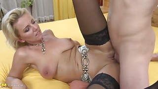 Taboo home sex with sexy mom and young step son
