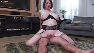 Taboo sex with big breasted mom and step son