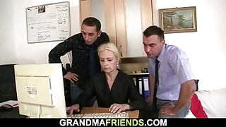 They share old blonde granny in the office